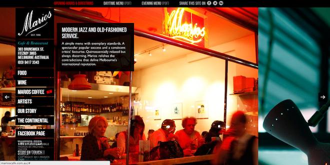 写真のコントラストが美しい飲食店WEBサイト